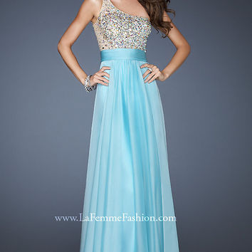 Long One Shoulder Empire Waist Dress