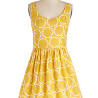 Air of Adorable Dress in Dotted Gold | Mod Retro Vintage Dresses | ModCloth.com