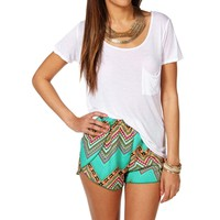White Scoop Neck Single Pocket Tee