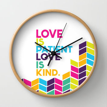 love is patient.. multicolored Wall Clock by studiomarshallarts
