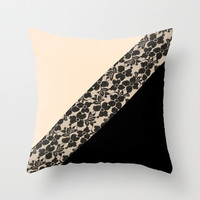 Elegant Peach Ivory Black Floral Lace Color Block Throw Pillow by Girly Trend