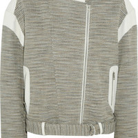 IRO Jake leather-paneled woven cotton-blend jacket – 60% at THE OUTNET.COM