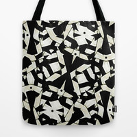 Black and White Abstract Ornament Pattern Tote Bag by Danflcreativo