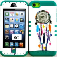 Apple Iphone 5c Colorful Dream Catcher on White Design Hard Plastic Protective Cover Case with Kickstand on Teal Silicone Gel.