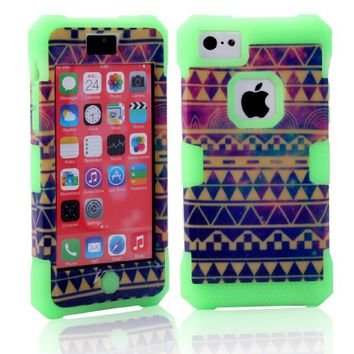 MagicSky Nebula Tribal Pattern Glow in the Dark Case for Apple iPhone 5C - 1 Pack - Retail Packaging - Green