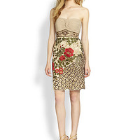 Floral & Peacock-Embroidered Dress