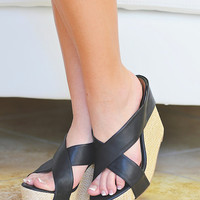 Walk A Mile By My Side Wedge - Black