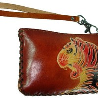 Leather Change Purse,Rectangle Shape,Tiger Pattern Embossed,Zipper Closure