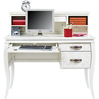 Belle Noir White Desk and Hutch