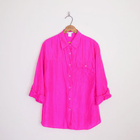 100% Silk Shirt Pink Silk Blouse Bright Hot Pink Shirt Neon Pink Oversize Shirt 80s Shirt 90s Shirt Blogger Style S Small M Medium L Large