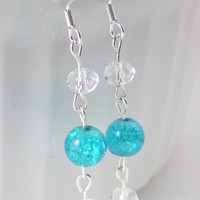 Turquoise Earrings, Clear Earrings, Blue Earrings, White Earrings, Teal Earrings
