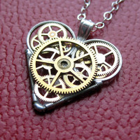 "Mini Steampunk Heart Necklace ""Forward"" Elegant Industrial Heart Pendant Mechanical Clockwork Love Sculpture Gershenson-Gates Valentine's"
