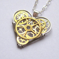 "Mini Clockwork Heart Necklace ""Real"" Elegant Industrial Heart Pendant Steampunk Mechanical Love Sculpture Gershenson-Gates Valentine's"