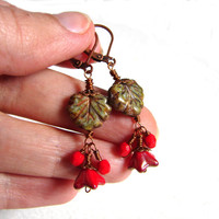 Rustic and red dangle earrings, wirewrapped, copper tone earrings, very fine work