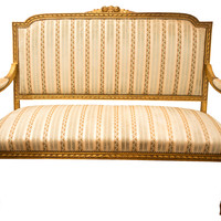 French Louis XVI-Style Gilded Settee