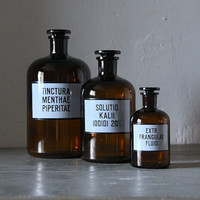 SET OF 3 Belgian Vintage Apothecary Bottles With Label HUGE