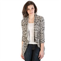 Living Doll Juniors Cropped Tribal Print Cardigan with Pointed Hem at Von Maur