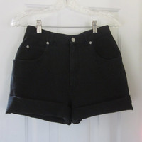 Vintage Black Denim High Waisted Shorts Cut Off Jean Shorts, Roll Up Hipster Womens 6 High Waist 27, Black Grunge Cutoffs Mom Jeans GS91