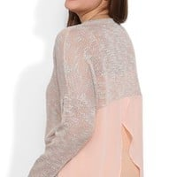 Plus Size High Low Sweater with Chiffon Tulip Back