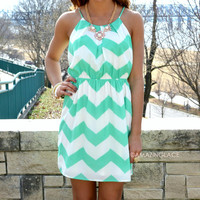 Chevy To The Levee Mint Halter Dress