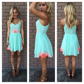 Mint & Neon Pink Margarita Embroider Dress