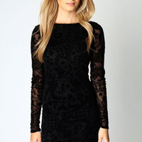 Zoe Flock Long Sleeve Bodycon Dress