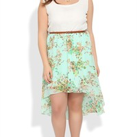 Plus Size Dress with Lace Tank Bodice and Floral High Low Skirt