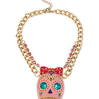 Betsey Johnson Gold-Tone Sugar Skull Frontal Necklace