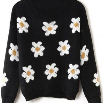 Sheinside Long Sleeve Sunflower Pattern Knit Sweater