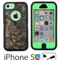 iCustomized (TM) Black and Green Rugged Heavy Duty Hard Dual Layer Weather and Water Resistant Case with Camouflage Woods Design for the NEW Apple iPhone 5C (AT&T, Verizon, Sprint), Black Audio Jack Dust Plug