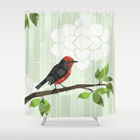 Bird in Tree Shower Curtain by Lorri Leigh Art
