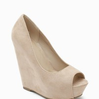 Mars-S Fx Suede Covered Peep Toe Wedge