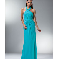 2014 Prom Dresses - Aqua Pleated Chiffon Halter Gown