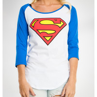 Superman Raglan Long Sleeve Junior Fitted Tee