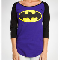 Batman Raglan Long Sleeve Junior Fitted Tee