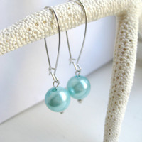 Aqua Blue Faux Pearl Kidney Wire Earrings by MadebyLinLin on Etsy