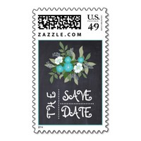 Chalkboard aqua floral wedding Save the Date postage stamp