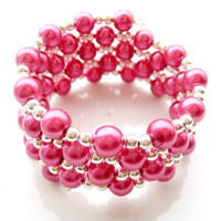 Hot Pink Glass Pearl Wrap Bracelet by MadebyLinLin on Etsy
