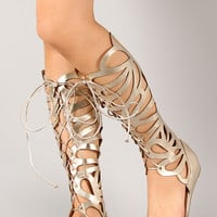 Delicious Melo-S Metallic Gladiator Knee High Flat Sandal