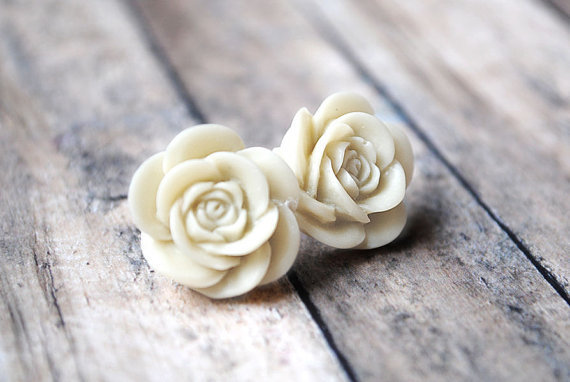Ivory Rose Earrings Soft Hue by LimonBijoux on Etsy