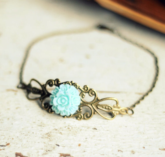 Blue Rose Bracelet Brass Filigree Bracelet by LoraleiKaiDesigns