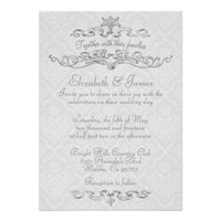 Simple Luxury White Damask Wedding Invitations
