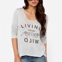 Run Wild Hooded Light Grey Top