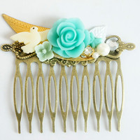 Sky Blue Mint - Flower Rhinestone Collage Comb - OOAK Victorian Style Shabby Chic Flower Collage Hair Comb - Bird and Pearl - VCC011