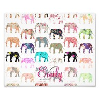 Monogram Girly Retro Floral Elephants Pattern