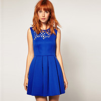 Blue Mini Dress - Bqueen Neoprene Laser Cut Waisted | UsTrendy