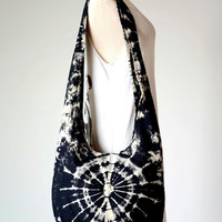 Black & White - Tie Dye Hippie Bag, Crossbody, Shoulder bag, Boho, Hobo, Diaper bag, Handbag, Purse J252