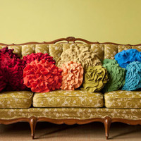 Custom color ruffle rose pillow LARGE as by thatfunkyboutique