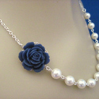 Bridesmaid Necklace Navy Blue Rose and Pearl Wedding by AnnsCrafts