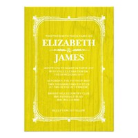 Yellow Rustic Barn Wood Wedding Invitations